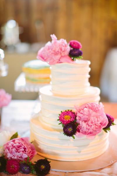 Peony Buttercream Ruffle Wedding Cake - Photo by Sarah Der