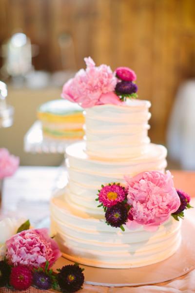 Peony Buttercream Ruffle Wedding Cake - Photo by Sarah Der