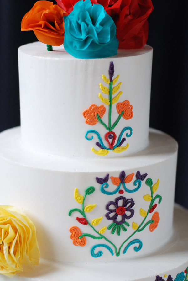 Mexican Piping Buttercream Wedding Cake