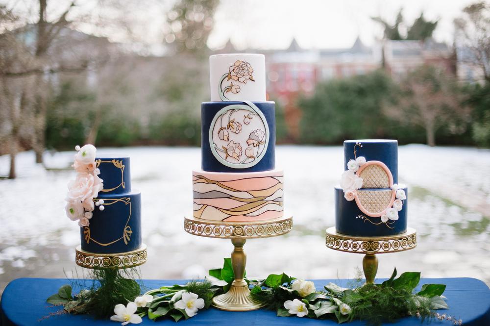 Art Deco Art Nouveau Wafer Paper Flowers Wedding Cakes - Photo by Jessica Maida Photography