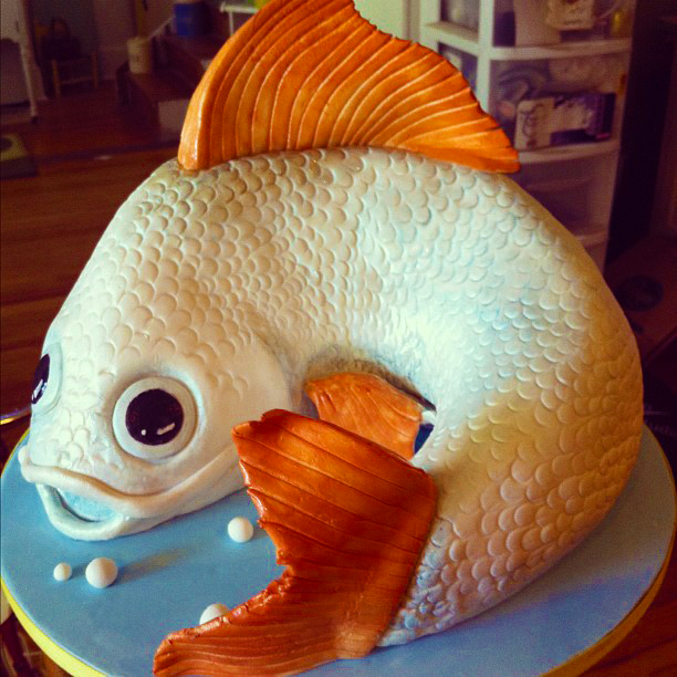 Carved Koi Fish Cake
