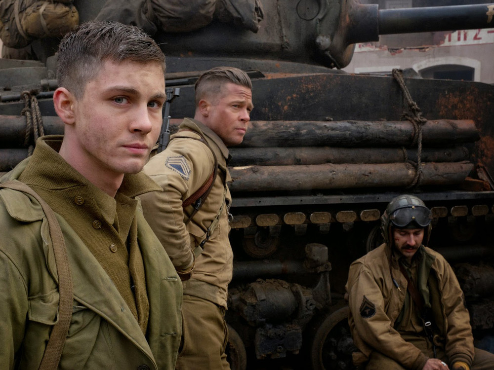 Brad Pitt, Logan Lerman and Shia Labeouf in Fury