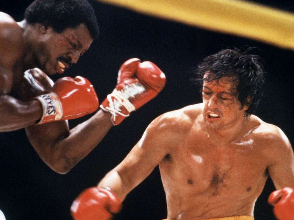 Sylvester Stallone and Carl Weathers in Rocky II