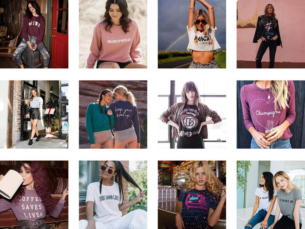 Sub_urban Riot ,  Brunette the Label ,  Billabong ,  Daydreamer LA  |  Project Social T ,   Spiritual Gangster ,  Trunk LTD ,  Chaser  |  Wildfox ,  CHRLDR ,  Volcom ,  n: Philanthropy