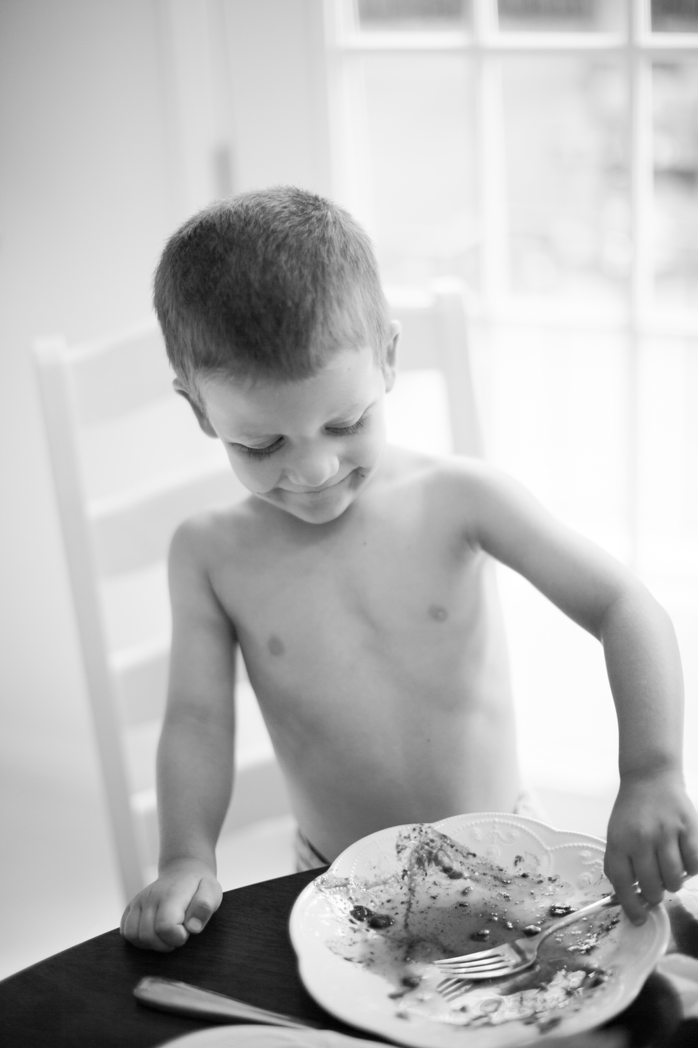 Is there anything cuter than watching a young boy polish off his plate of blueberry waffles?
