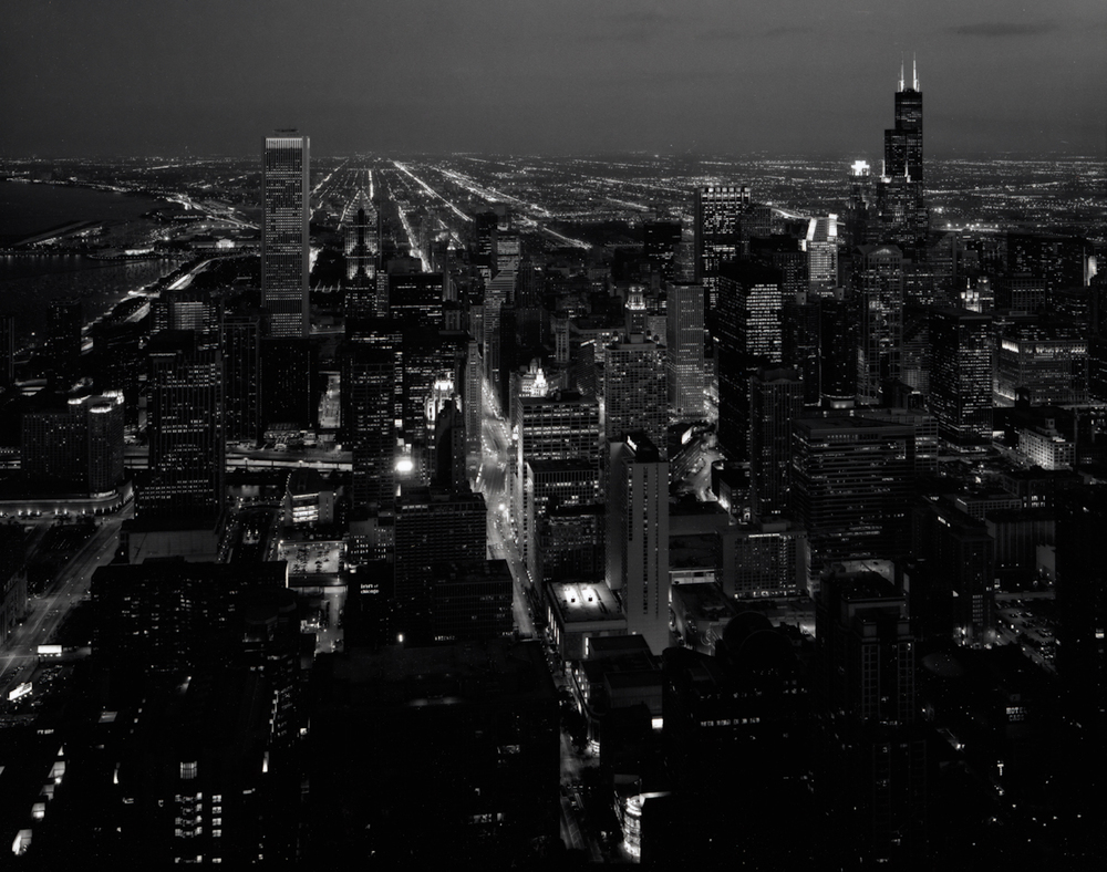 Nightfall, South View from Hancock Roof, 8:45 pm, August,  2000  Gelatin silver photograph.   16 5/8 x 21 7/8 inches