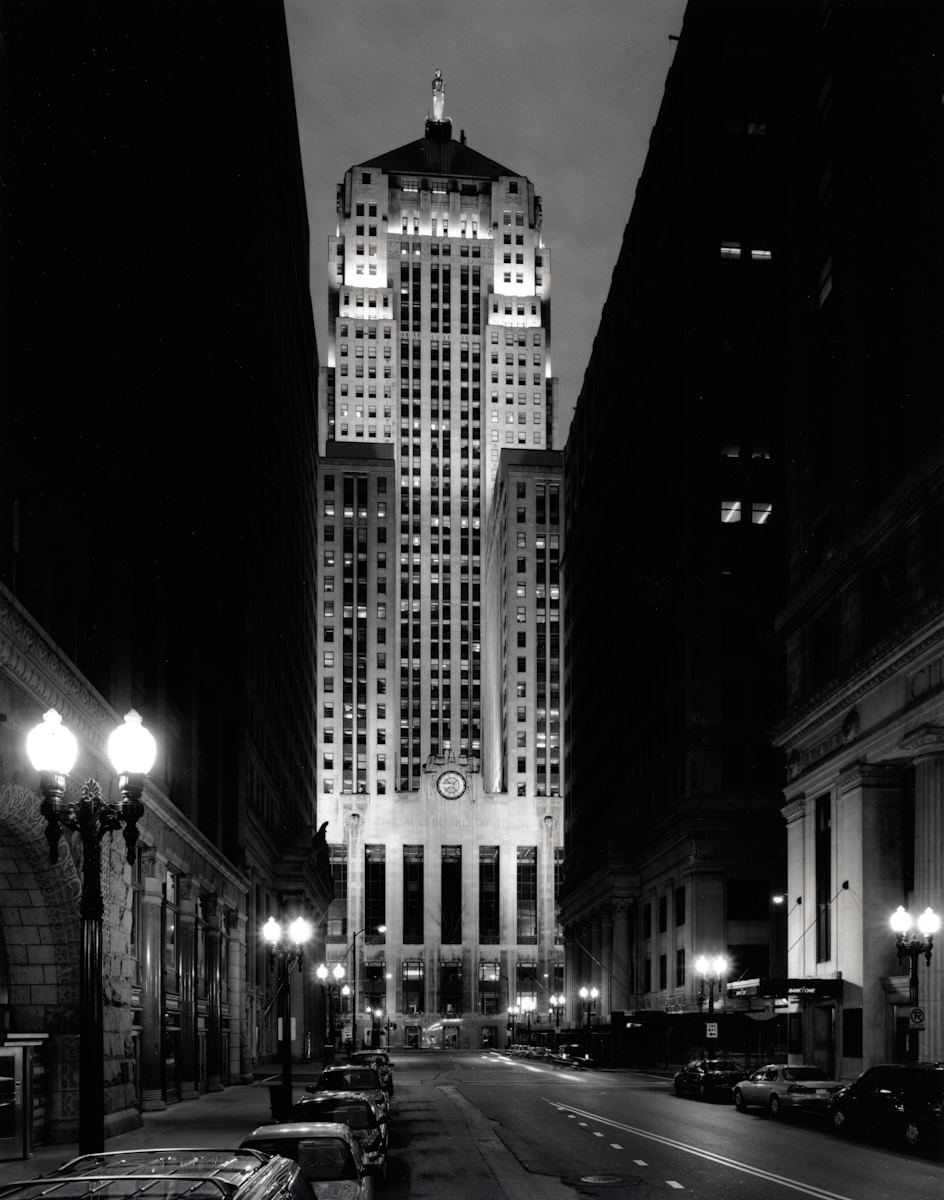 Chicago Board of Trade, 8:45 pm, June , 1999  Gelatin silver photograph.  21 7/8 x 17 inches