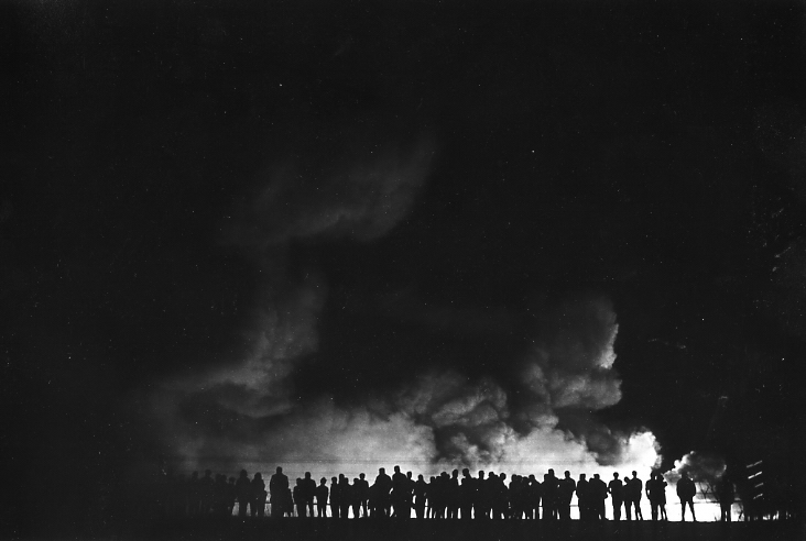 The Night of M.L.King Assassination, Gary, IN , 1968  Gelatin silver photograph  7 1/4 x 10 5/16 inches