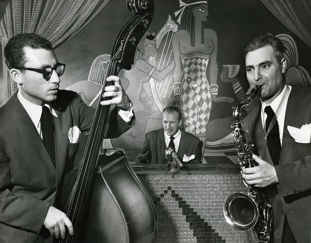 Sammy Arons, Chet Roble, and Charlie Parenti, Cairo Lounge on N. Broadway , c. 1951-2  Gelatin silver photograph.   10 1/4 x 13 1/8 inches