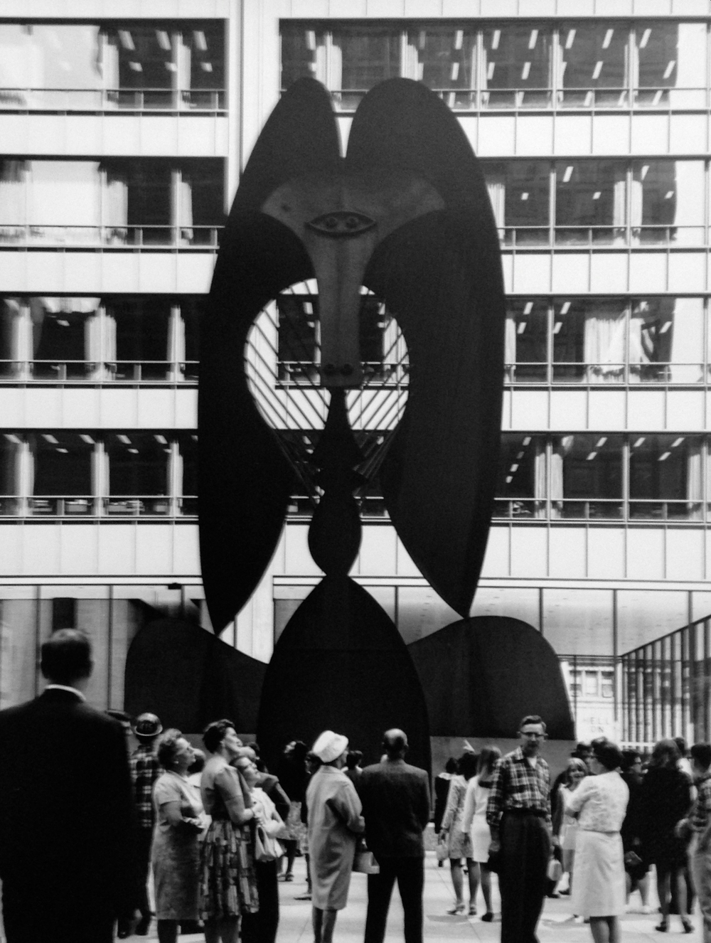 Picasso at Daley Plaza , 1967    Silver gelatin print.    14 x 11inches