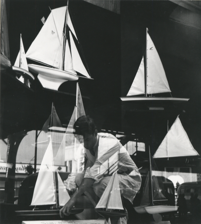 Sailboat Display , 1955-65  Gelatin silver photograph mounted on board.  6 13/16 x 6 1/8 inches
