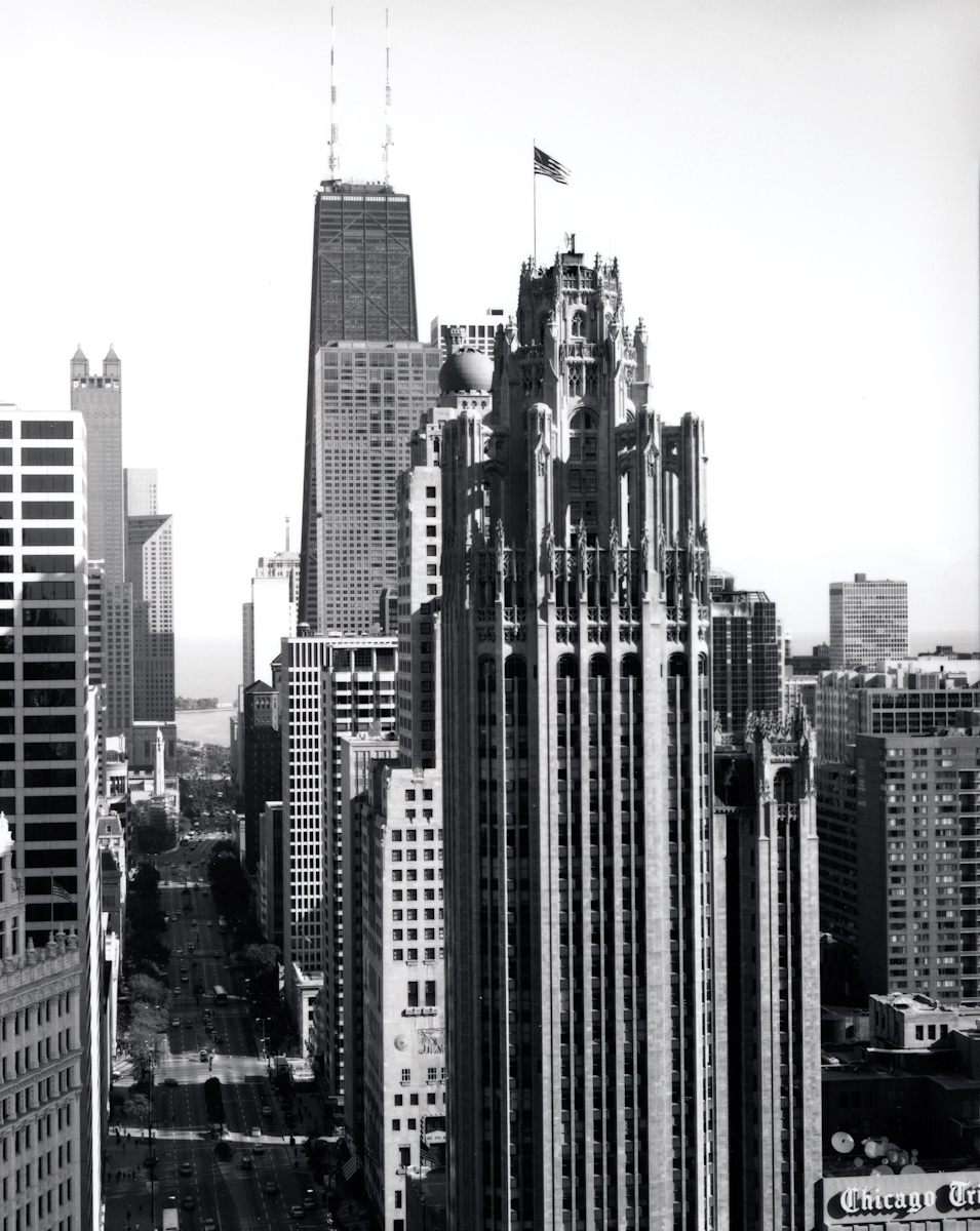 Tribune Tower , 1997  Gelatin silver photograph  21 3/4 x 16 3/4 inches