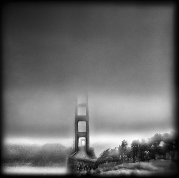 Golden Gate Bridge, 5:58 AM   Hand-varnished, archival pigment print.   16 x 16 inches