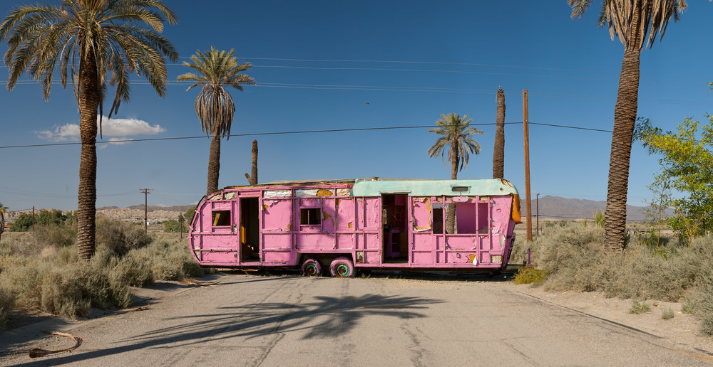Pink Trailer; Salton Sea, CA, 2010-2012    Archival pigment print.    20 x 39 inches