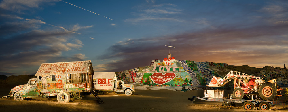Salvation Mountain; Niland, CA, 2012    Archival pigment print.    20 x 51 inches