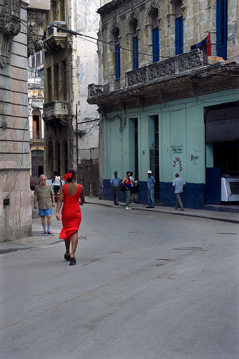 Girl in Red Dress , Havana, Cuba, 1999  Archival pigment print.  20 x 13 3/8 inches