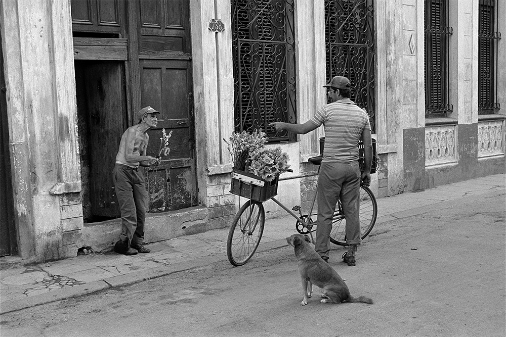 Old Man and Flower Vendor , Havana, Cuba, 1999  Archival pigment print.  13 3/8 x 20 inches