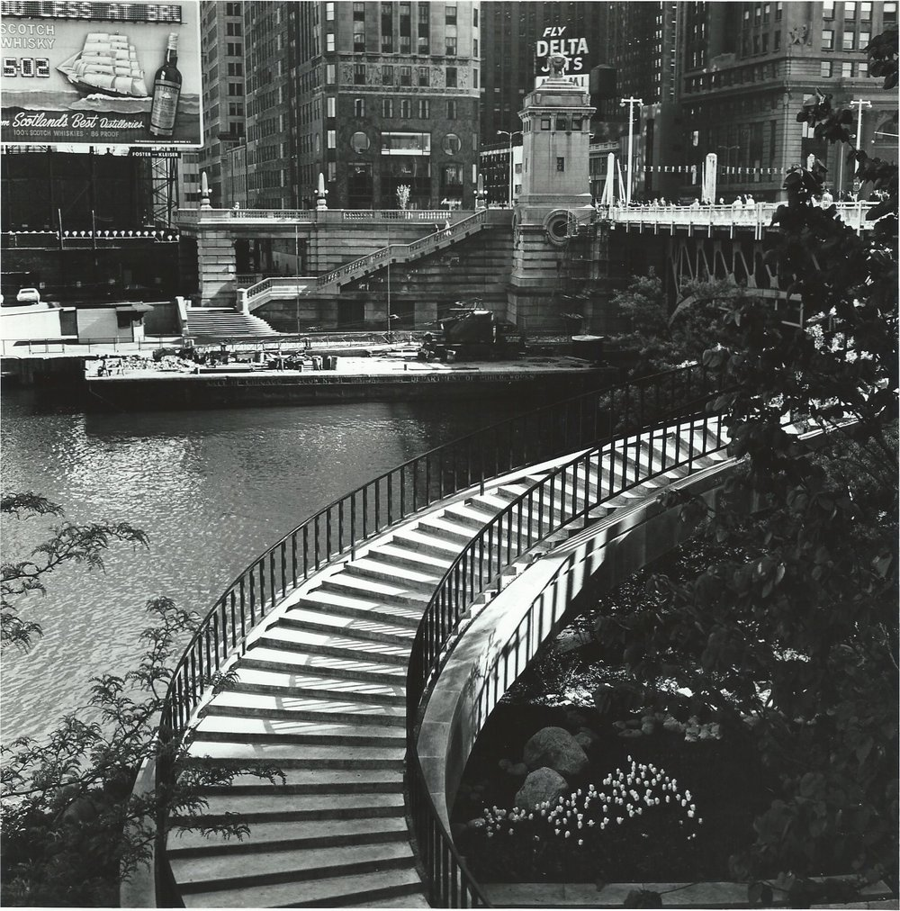 "The Stairway near Equitable Bld, Chicago , 1966  Silver Gelatin Photograph  7 1/2 x 7 1/2""  $750"