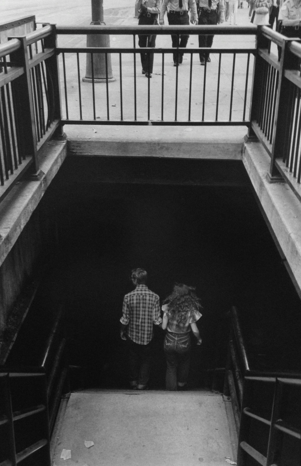 "To the Lower Level on Michigan Ave, Chicago,  1982  Silver Gelatin Photograph  12 1/8 x 18 3/16""  $750"