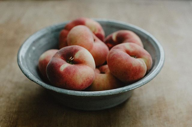 savoring the last bit of summer with these beautiful Saturn peaches from an Amish roadside stand.