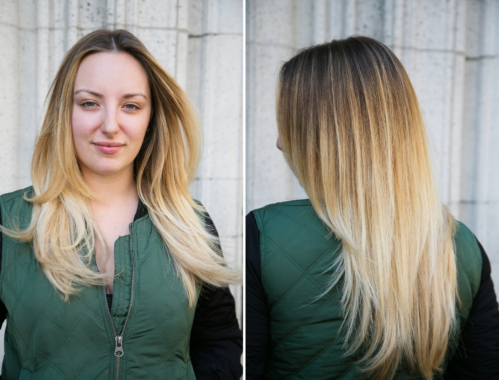 Mishi created a beautiful ombre that she sealed with the Absolu shampoo and conditioner. Instead of looking dry you can see that her hair is shiny and healthy.