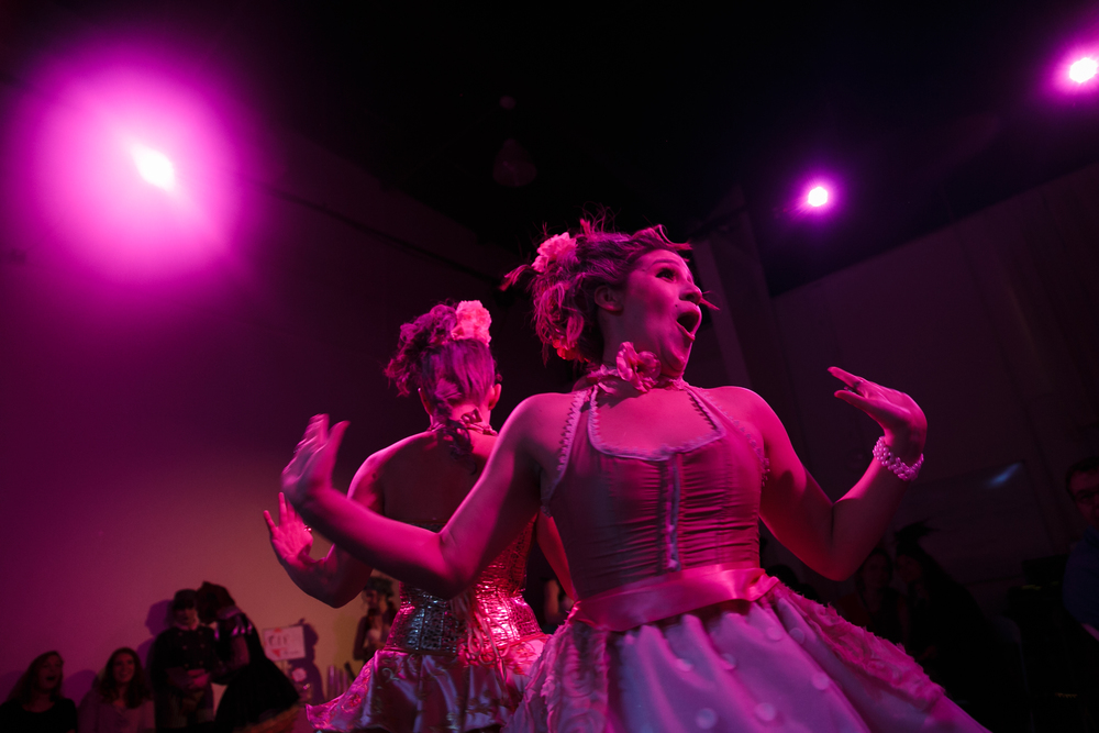 Dancers performing during show themed to Marie Antoinette-era