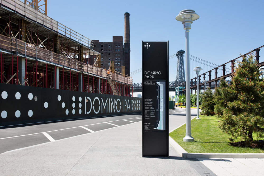 Domino Park branding and environmental graphics by  Noë Associates
