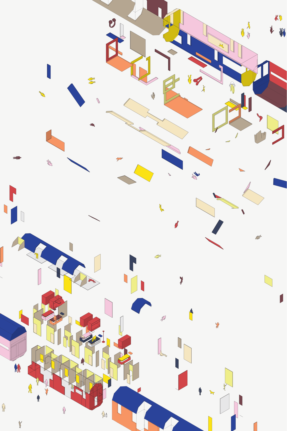 This isometric imagines the experiential dissolve of the classroom into its environment.
