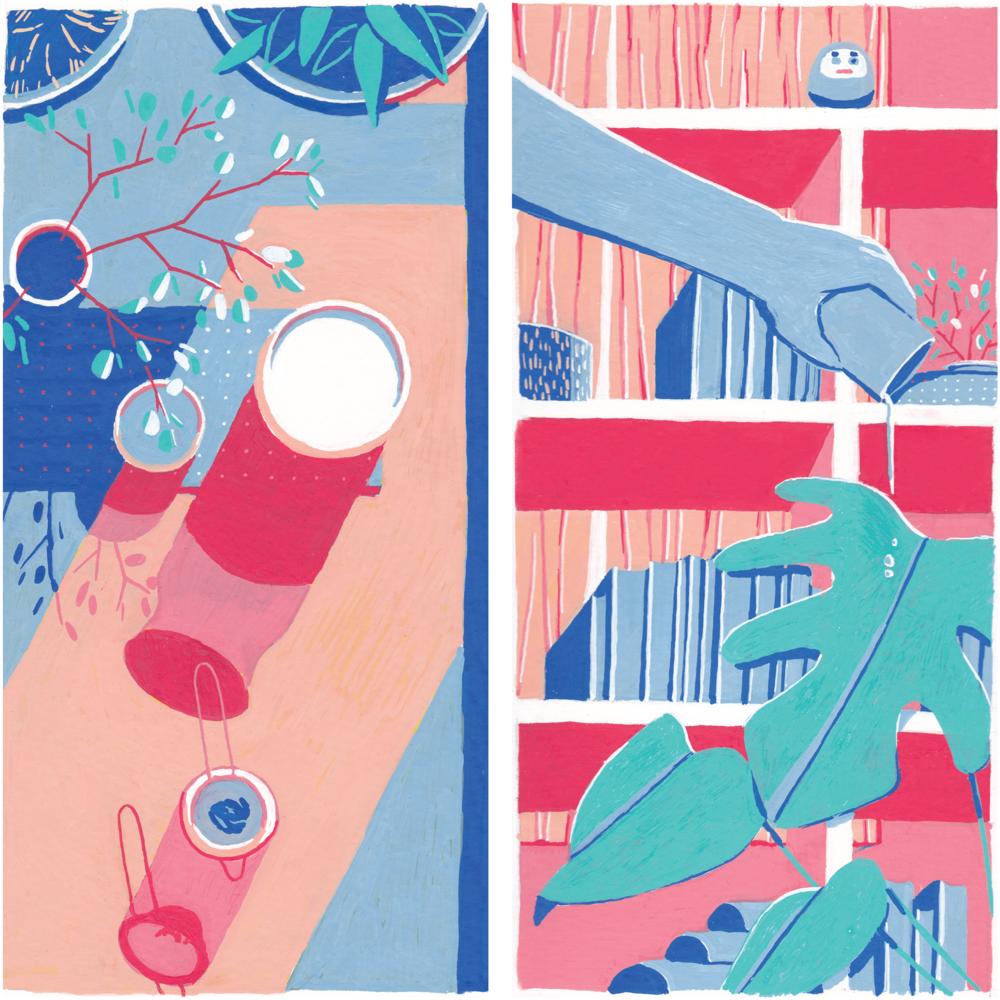 "BOXES OF HOME: TEA    ACRYLIC PAINT PEN ON PAPER, 8""X8""  2019"