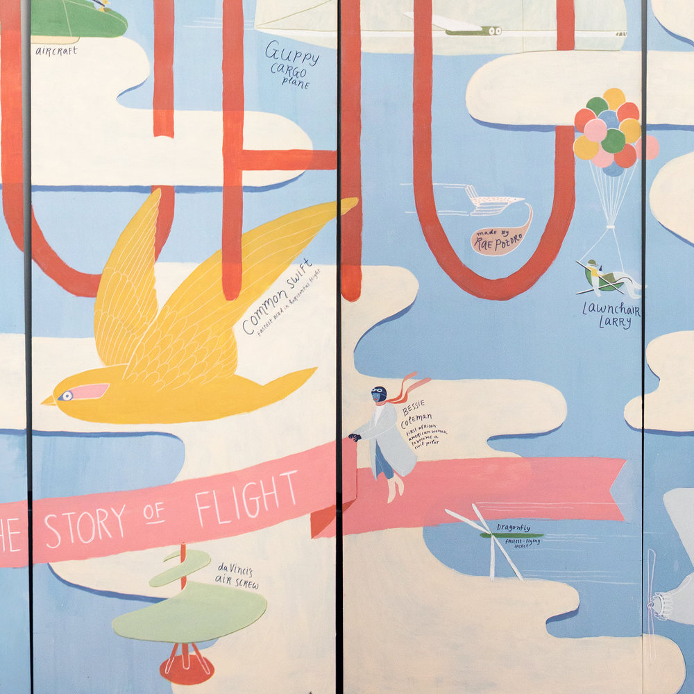THE STORY OF FLIGHT    ACRYLIC MURAL ON WOOD PANELS, 14'X8' (DETAIL SHOWN)  2019