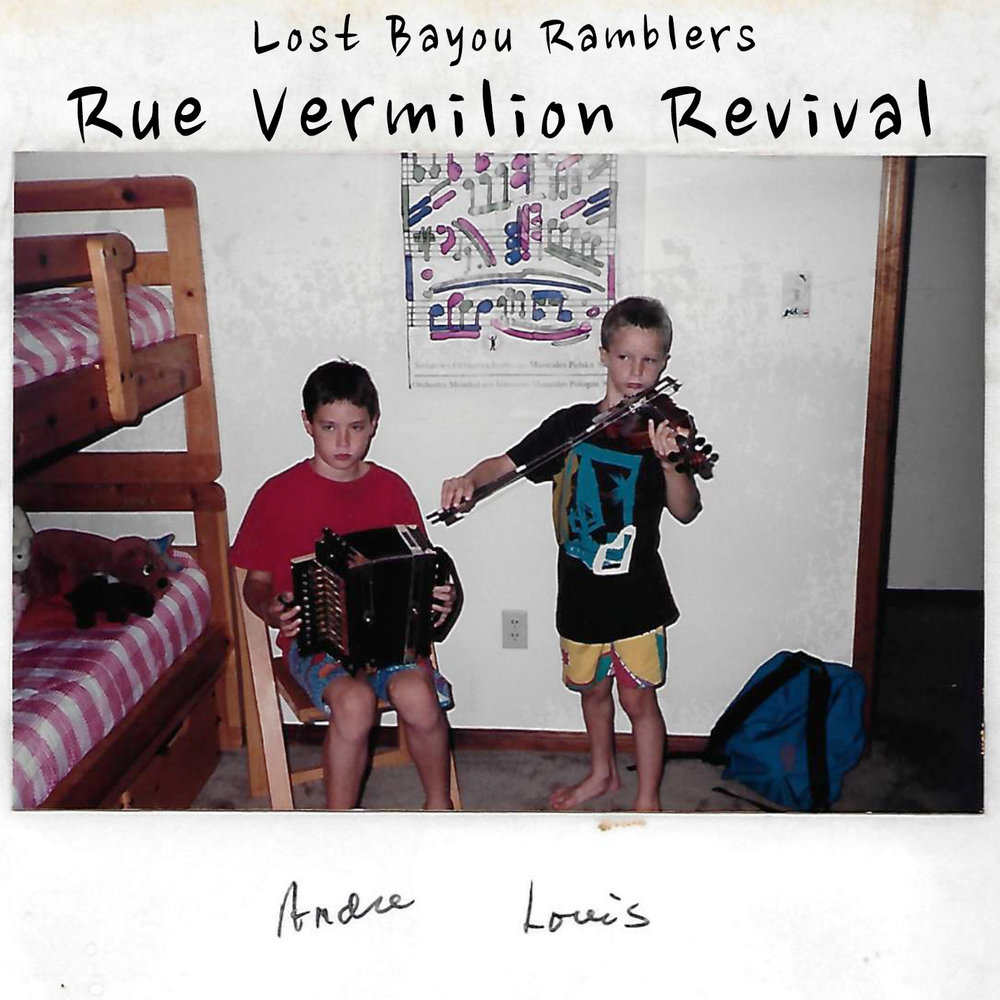"FOR IMMEDIATE RELEASE:   Rue Vermilion Revival, a special album release of Lost Bayou Ramblers' first show from 1999, will raise money for those affected by recent flooding in South Louisiana.   Rue Vermilion Revival will be released via Bandcamp.com on Wednesday, August 24.  Bandcamp will feature the fundraiser live recording, which will be available as a two track download, or locally on a limited edition cassette tape. Proceeds will go to those affected by the historic floods in Louisiana.   On Friday, August 26, Lost Bayou Ramblers will hold a roving fundraiser beginning at 6pm at Lagniappe Records (313 Jefferson Street) then continuing to Rêve Coffee (200 Jefferson Street) and Jefferson Street Pub (500 Jefferson Street) and finally ending at the site of their original performance, The Garage at 205 W. Vermilion Street.   Recorded live at Café Rue Vermilion, Lafayette Louisiana, on August 27, 1999. Engineered by Louis Michot Mastered by Kirkland Middleton. Cover photo (recovered from flood) by Tommy Michot   Musicians: Louis Michot (fiddle, vocals) Andre Michot (accordion) Matthew Doucet (fiddle) David Michot (guitar) Chris Keating (upright bass) Gary Hernandez (clarinet) Adam Cohen (t-fer) Thad Duplechin (frottoir) -------   One August night in 1999, I ventured over to Café Rue Vermilion in downtown Lafayette, Louisiana to hear a newly formed band fronted by brothers Louis and Andre Michot. What I witnessed that night, I realize now, was more than the first public performance of the Lost Bayou Ramblers—it was a happening; a watershed moment that continues to change the contours of Cajun music.     Louis had recently returned to Louisiana from busking across Maritime Canada, where he honed his fiddling and French-language skills. Back in Lafayette, Andre spent the summer in his living room with a borrowed accordion, figuring out the melodies he had played for years as the guitarist in his father's family band, Les Freres Michot. When the two brothers reunited in Lafayette in August of 1999, a new collaboration was born. Louis eagerly booked their first gig and the duo threw together a rag-tag band comprised of family and friends. During last minute preparations, the late Ryan Domingue asked Louis, ""What's the name of the band?"" They had yet to form an identity. Domingue offered ""Lost Bayou Ramblers.""   I arrived early for the show with cheap beer in tow. Andre and I retreated into the warm night air to share conversation and a Red Dog tallboy. We watched as hipsters, dreadlocked hippies, and Cajun music aficionados filed into the venue. The aroma of freshly brewed coffee was as strong as the acoustic music filling the café. The sound was raw and unvarnished. The set list, derived from old-school Cajun classics and debuted original songs by Louis and Andre, was driven by youthful exuberance.   Café Rue Vermilion couldn't contain the Lost Bayou Ramblers that night. When the band launched into the enchanting strains of the Cajun Mardi Gras song, all of the patrons followed Louis and the band into the streets of Lafayette. We invaded downtown restaurants and bars--singing, chanting, and playing--evoking the cultural right-of-way of the courir de Mardi Gras. I went home bewitched. Today, after thousands of shows in 40 states and 8 countries, and countless collaborations between the band and I, the spell the Lost Bayou Ramblers cast on me has yet to wear off.   Rue Vermilion Revival represents an act of cultural renewal--taking the old and making it new. Louis had the foresight to record the first Lost Bayou Ramblers performance, made available to the public here for the first time. We hope that this recording offers some joy and sonic inspiration for our south Louisiana neighbors working to revive their homes and livelihoods in the wake of floodwaters. Proceeds from the sale of Rue Vermilion Revival go directly to flood relief.     Ryan André Brasseaux August 18, 2016 Yale University"