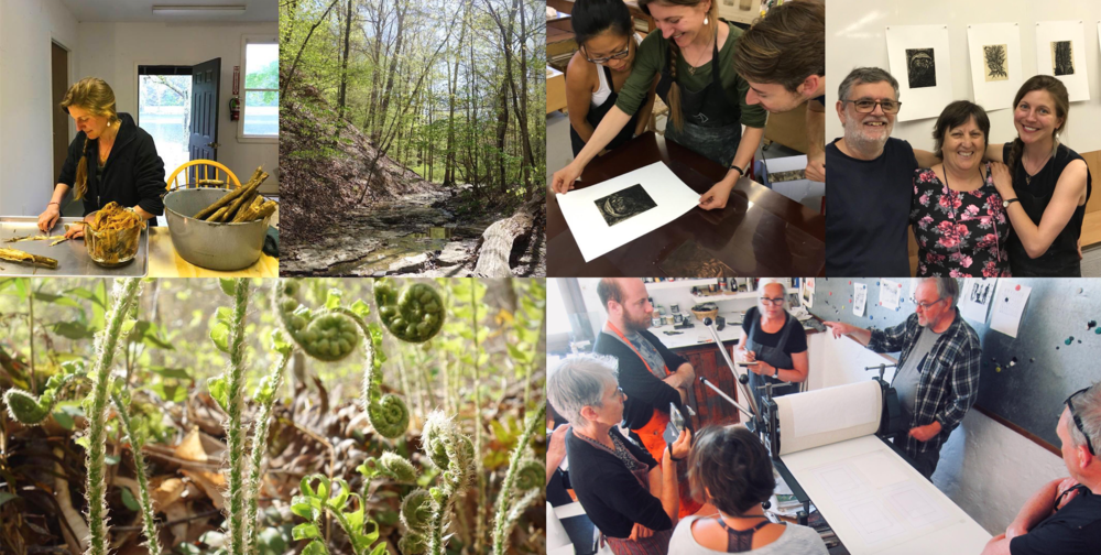 Photos from cleaning fibers for papermaking at Bernheim Arboretum and Research Forest, making prints at Art Print Residence in Barcelona, Spain, and learning about non-toxic printmaking at Henrik Bøegh's studio in Andalucía.