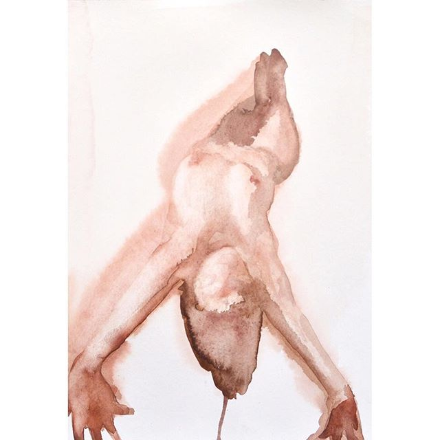 Watercolour on Paper 👉🏻 New rule... every morning I leap out of bed - bend, stretch, feel alive and welcome in the day BEFORE looking at my phone/computer. 🤸🏼‍♀️✨🙅🏼‍♀️☎️