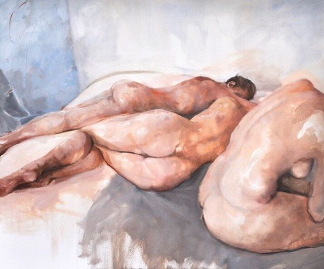 Sleeping Lions ~ Oil on Canvas ~ 100cm x 120cm.🌿Observing my models go through the process of becoming nude is incomparably wonderful. Arms slowly uncurl, chins rise, smiles spread and their bodies relax as confidence creeps up each vertebrate, one by one. The result is a woman seeing her body through the eyes of another woman, it's individuality and form worthy of being captured on canvas for years to come.