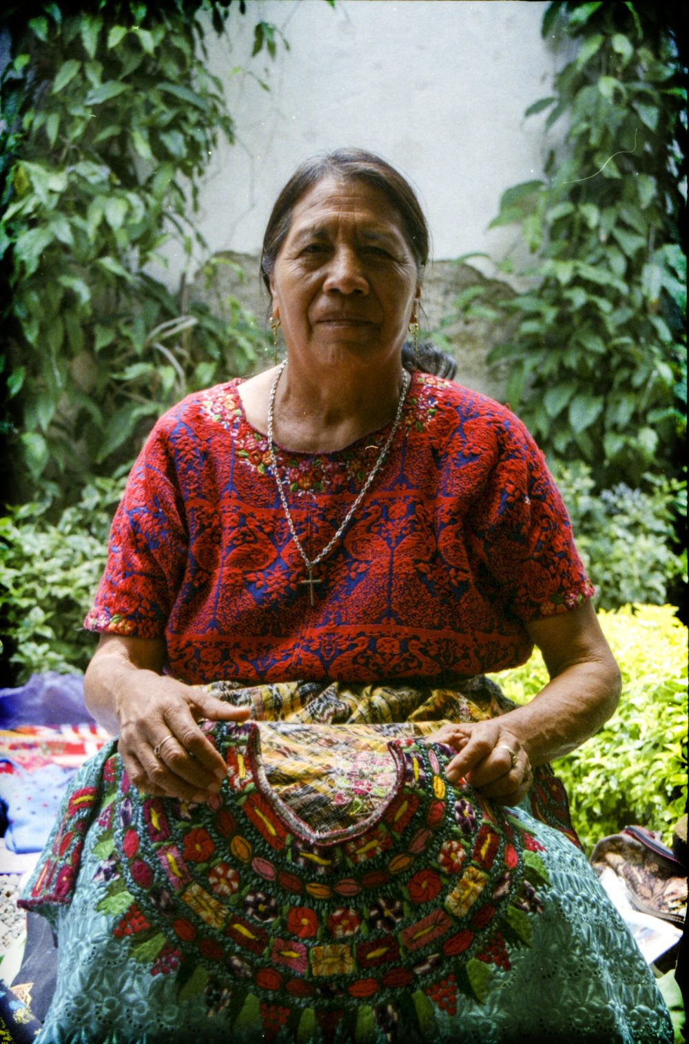 "Estefania is a local weaver of hand-woven traditional Mayan blouses, also know as "" Huipiles"".  The   Huipiles are so detailed that some of them take over a year to produce just a single one."