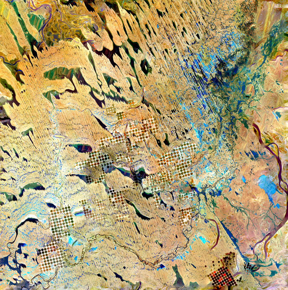 Earth As Art Stack No. 1 (Geometric Desert, Parallel Dunes, Desert Patterns, and Niger River)