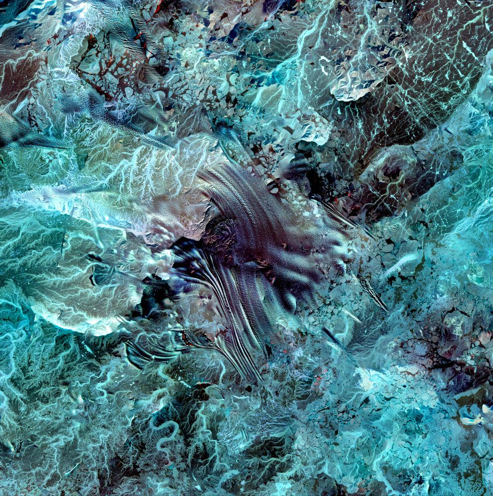 Earth As Art Stack No. 2 (Whirling Volcanos, Van Gogh, Jordan, Akpatok Island, and Lambert Glacier)