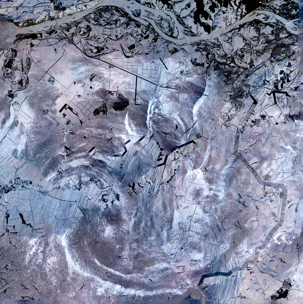 Earth As Art Stack No. 3 (Etched in Snow, Whirl In Clouds, Whirl in Air)