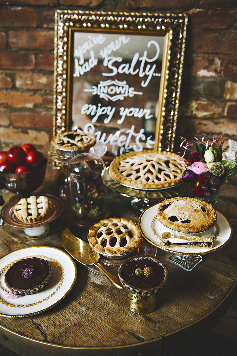 The Moody Romantics Wedding Inspiration Kerry Ann Stokes Pies by Cutie Pies NYC