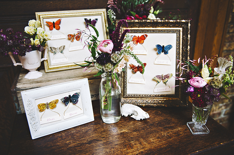 The Moody Romantics Wedding Inspiration Kerry Ann Stokes Butterfly Escort Card Display