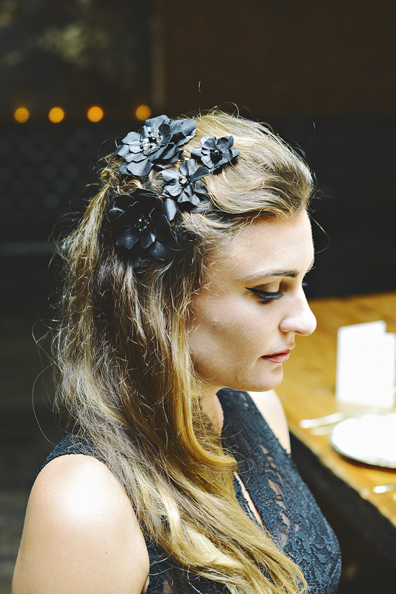 The Moody Romantics Styled Bridal Shoot Kerry Ann Stokes Indie Bride Dark Wedding Color Inspiration Black Flower Hair Pins Bridesmaid Hair