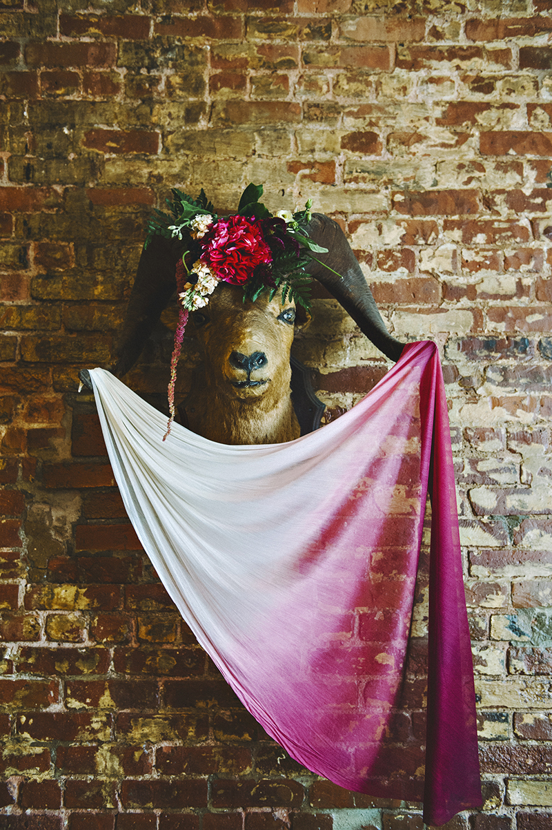 The Moody Romantics Fall Wedding Inspiration on Ruffled Blog Kerry Ann Stokes Silk Tulle Dip Dyed Ombre Veil in Wine