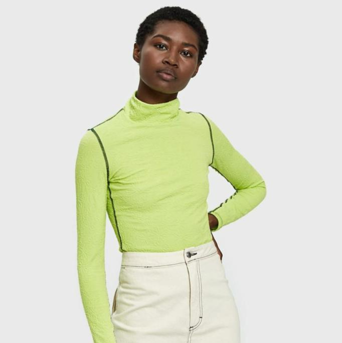 Neon turtleneck? Suddenly sounds about right.