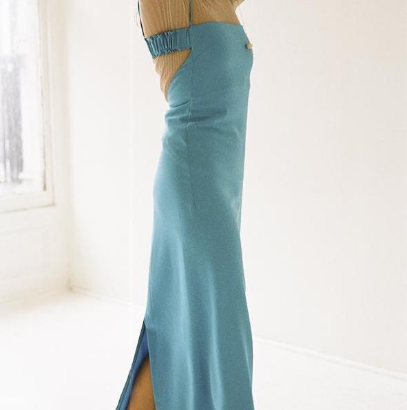 Brighten up your NYE with this Caribbean sea blue dress.