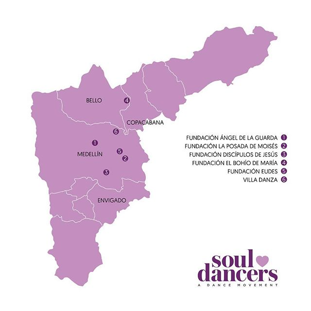As of late, our work at Soul Dancers has led us prominently to various areas of Colombia, specifically the city of Medellín, where there is an abundance of poverty and violence. Take a look at the map above to see where we've been concentrating our efforts to date. 💜 💜 Also check out our most recent blog post on www.souldancers.org for the inside scoop on the impact we've been making in so many lives🙏🏻