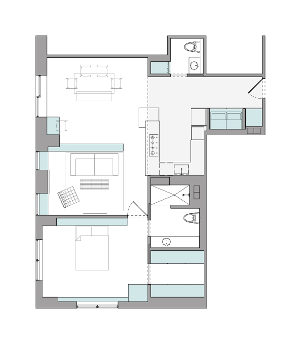 Floor Plan Highlighting Storage Opportunities