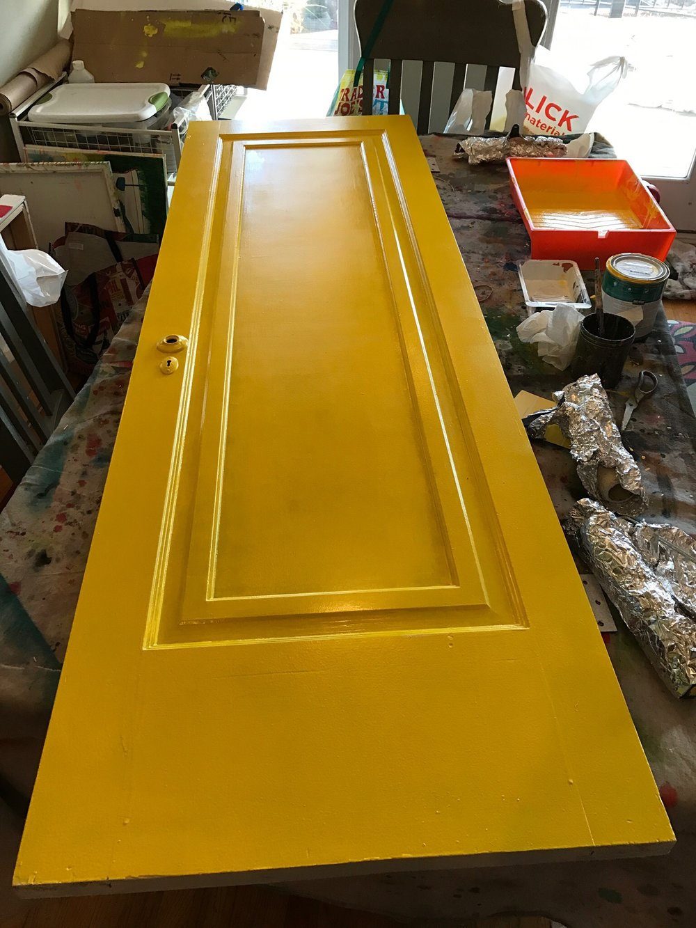 A vintage door, provided by Architectural Artifacts, gets a new 'happy' look