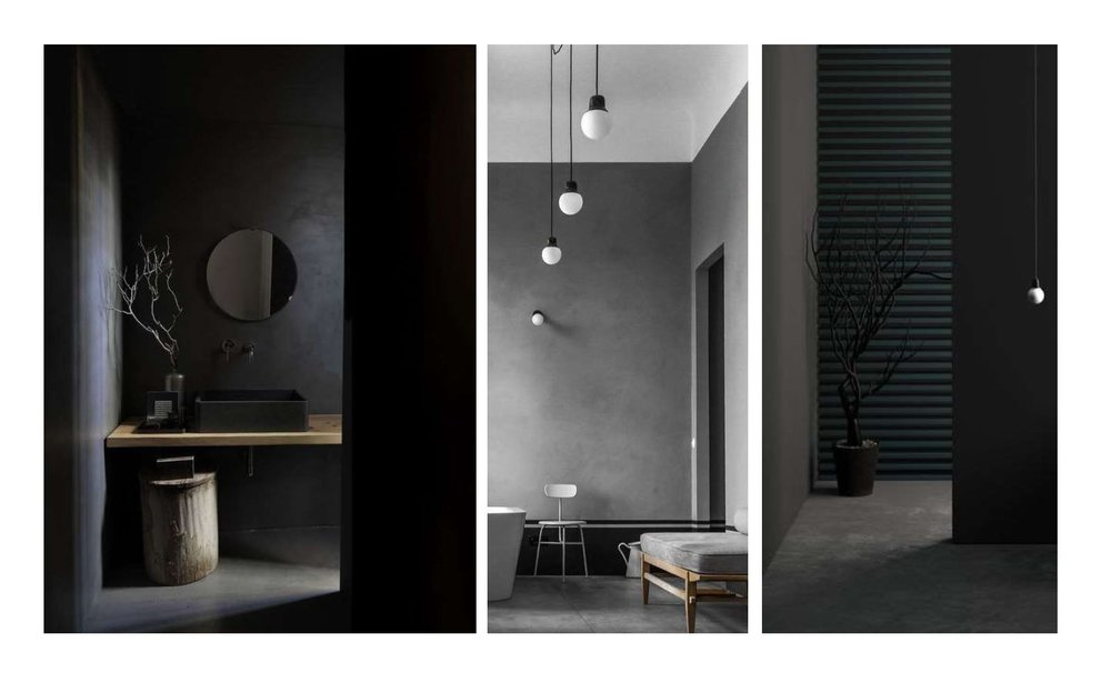 The darker spaces promote a feeling of calm