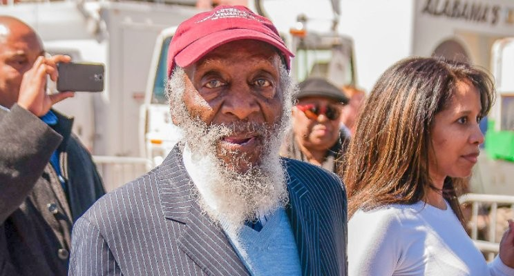 "Civil Rights Champion Dick Gregory, captured at the Edmund Pettus Bridge 50th Anniversary Commemoration of ""Bloody Sunday"""