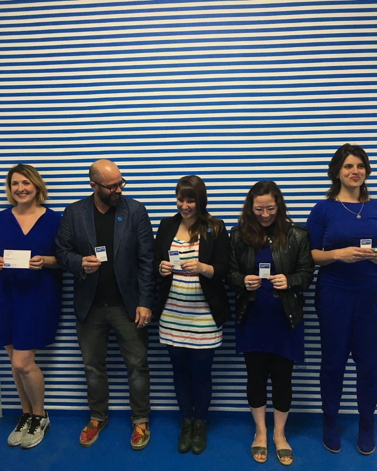 Anne Schaefer and the Museum Blue Team: Michael Behle, Carlie Trosclair, Lauren Cardenas, and Gina Grafos.